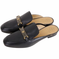 TORY BURCH Amelia 雙T黃銅金屬標誌牛皮穆勒鞋(黑色)