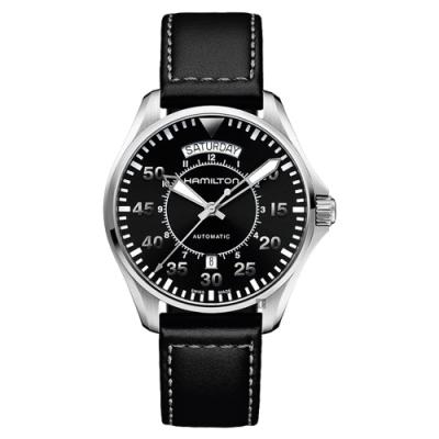 Hamilton 漢米爾頓 Khaki Aviation卡其飛行機械錶-黑/42mm