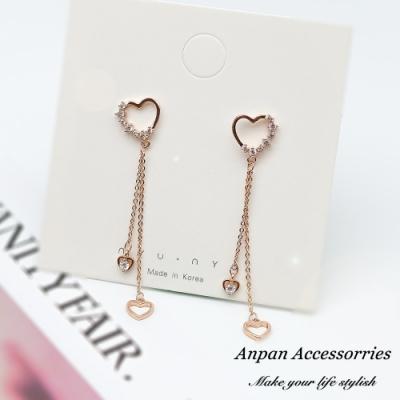 【ANPAN愛扮】韓東大門愛心鑲鑽垂墜心心相印925銀針耳釘式耳環
