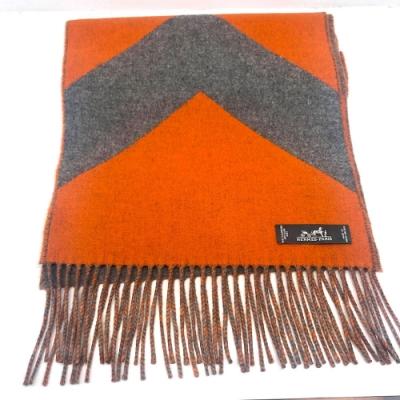 [領卷再折]HERMES 經典喀什米爾羊絨雙面流蘇圍巾(咖/橘)(橘/灰)