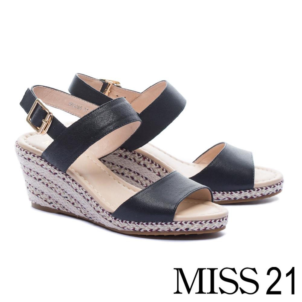 涼鞋 MISS 21 簡約百搭魚口剪裁一字帶羊皮草編楔型涼鞋-藍