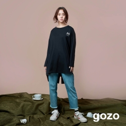 gozo 趣味繡花假二件造型T恤(三色)