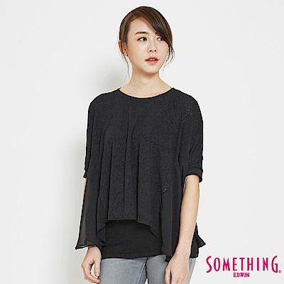 SOMETHING 鳶尾燒花拼接造型T恤-女-黑色