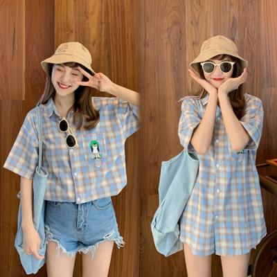 【韓國K.W.】(預購)薔薇花漾格子襯衫-2色