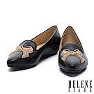 平底鞋 HELENE SPARK 蝴蝶結刺繡造型全真皮樂福休閒鞋-黑
