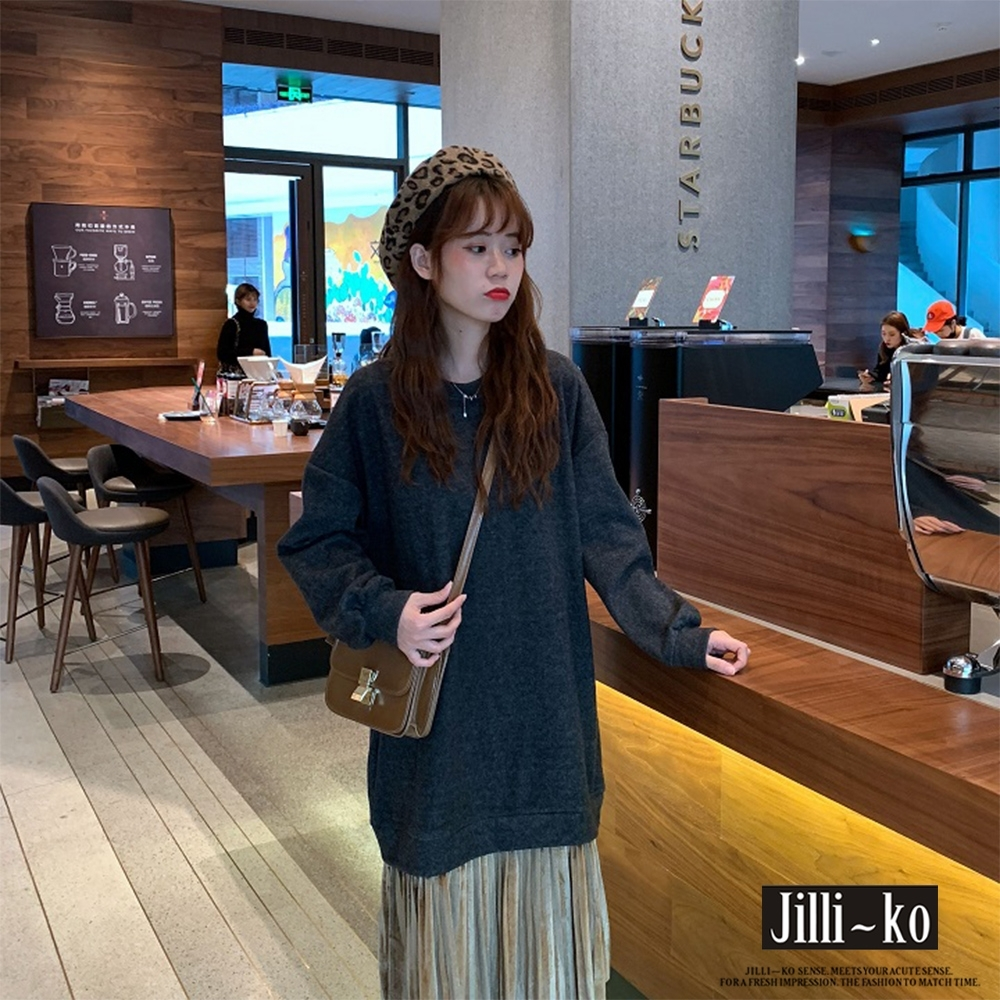 JILLI-KO 假兩件金絲絨百褶拼接連衣裙- 咖啡/黑