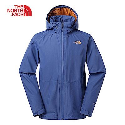The North Face北面男款藍色防風防水衝鋒衣|2VECHDC