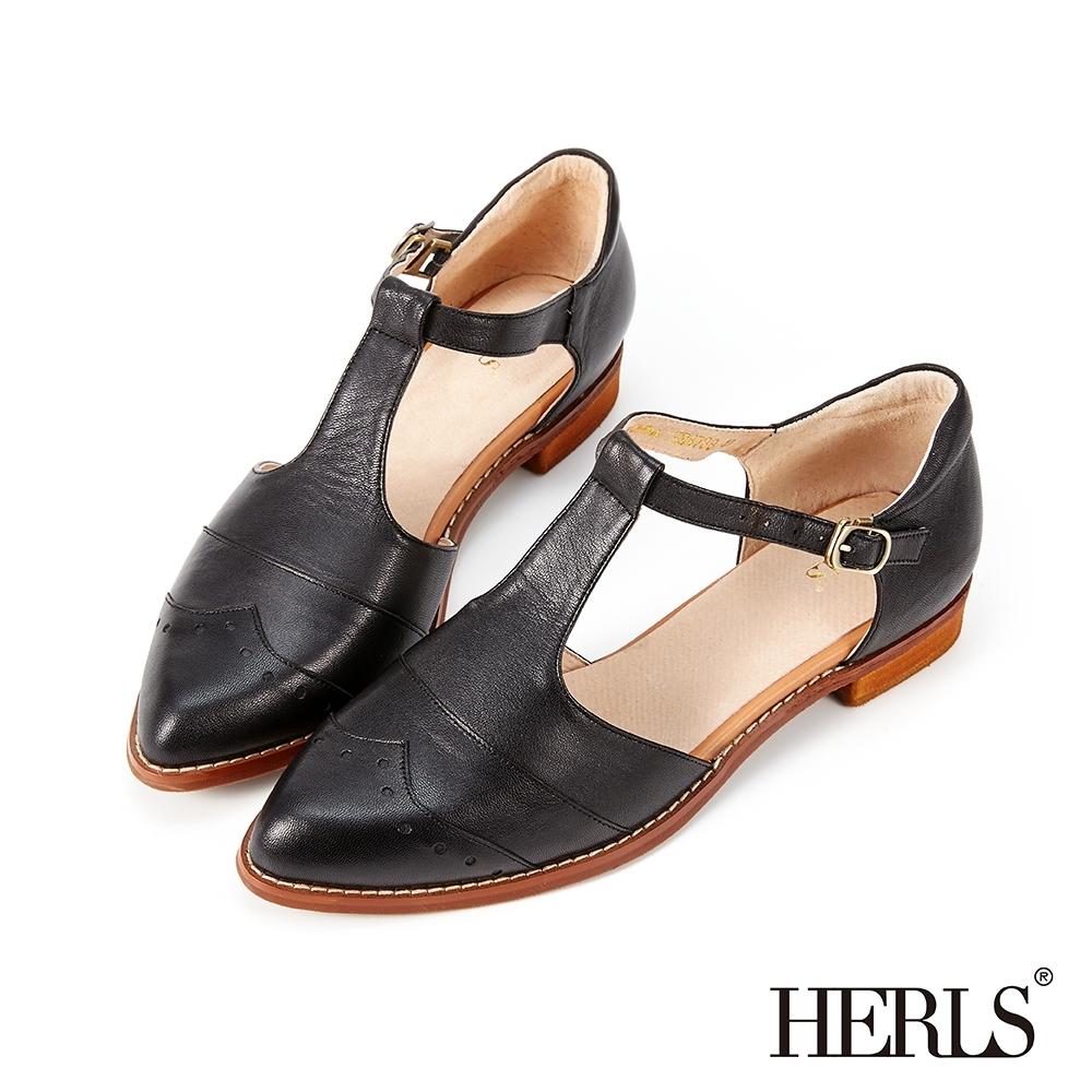 HERLS低跟鞋-全真皮沖孔T字瑪莉珍尖頭低跟鞋-黑色
