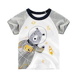 男童 中小童 歐美風格舒柔棉短袖T恤-可愛熊