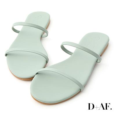 D+AF 清涼夏日.二條細帶平底涼拖鞋*綠