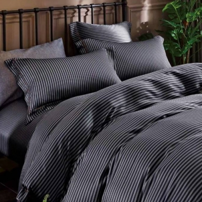 LAMINA 西舍(條紋) 100%天絲枕套床包組 雙人