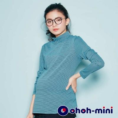 【ohoh-mini 孕婦裝】撞色線條高領孕婦上衣