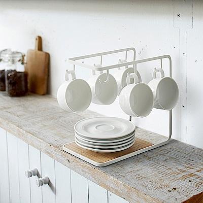 日本YAMAZAK-tosca多功能吊掛式杯盤架廚房用品茶水間下午茶杯架置物架