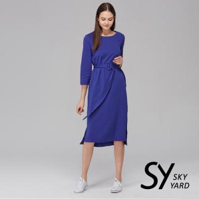 【SKY YARD 天空花園】七分袖扣環綁帶長版洋裝-藍色