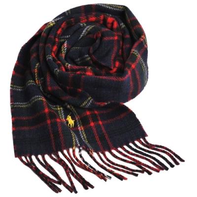 RALPH LAUREN POLO 小馬刺繡LOGO蘇格蘭格配羊毛圍巾(深藍格/黃馬)