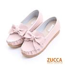 ZUCCA-車縫朵結平底休閒鞋-粉-z6501pk
