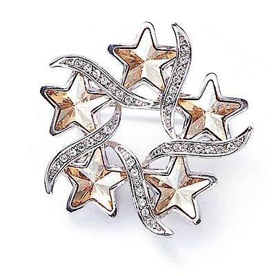 RJ New York幸運星星花圈交錯金繽水晶胸針別針兩用 金色