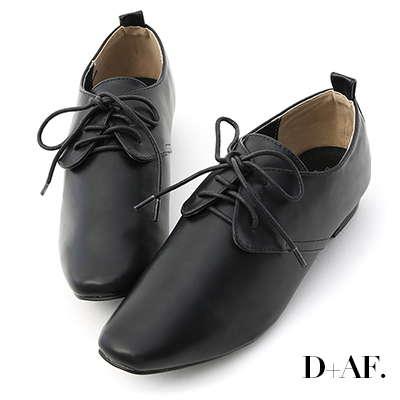 D+AF 文青潮流.復古小方頭綁帶牛津鞋*黑
