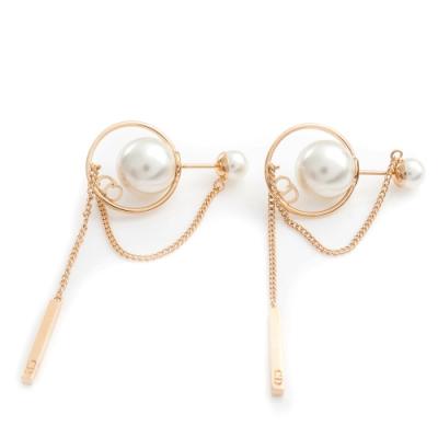 DIOR Dior Tribales 金色金屬白色樹脂珠子設計穿式耳環