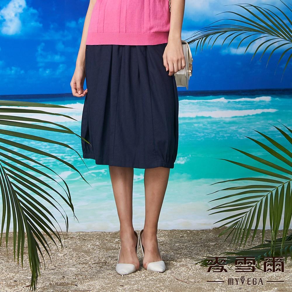 【麥雪爾】棉麻小繡花口袋花苞裙