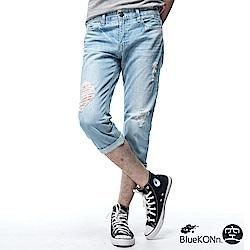 空 BLUE WAY 刷破八分丹寧牛仔褲