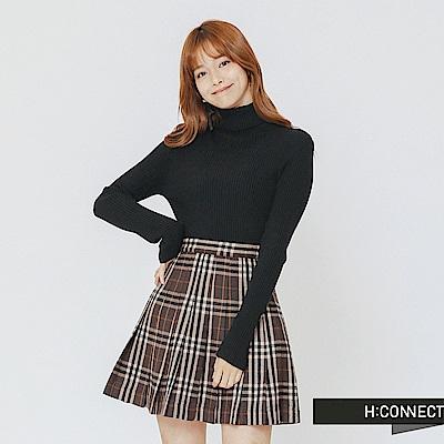 H:CONNECT 韓國品牌 女裝-高領坑條針織上衣-黑
