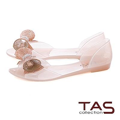 TAS 立體造型水鑽魚口後包涼鞋-質感膚
