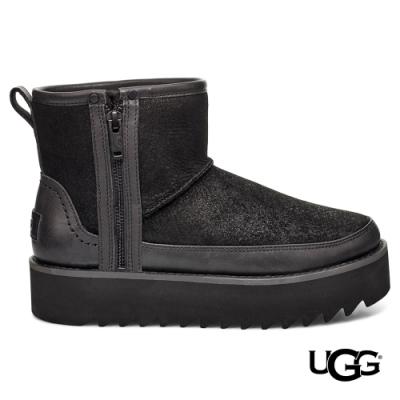 UGG短靴 Rebel Biker拉鍊皮革 黑色個性厚底靴