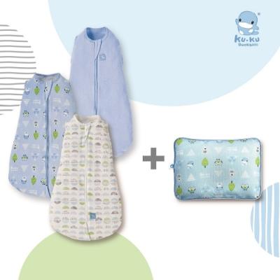 KUKU酷咕鴨 超好眠懶人包巾+3D超透氣嬰兒護頭枕(多款組合任選)