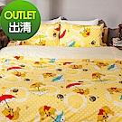 戀家小舖 / 雙人加大床包被套組  維尼飄飄樂  高密度磨毛布  台灣製