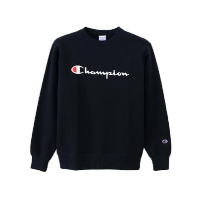 Champion Basic 草寫Logo內刷毛大學Tee 深藍