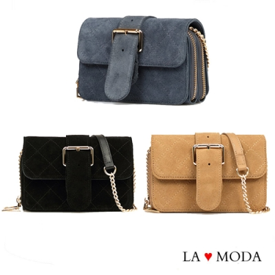 La Moda街頭時尚Look小香風菱格紋大容量多夾層肩背斜背鍊帶包小包