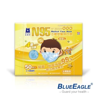 藍鷹牌 立體型2-4歲幼幼醫用口罩-50片x5盒(藍/綠/粉)
