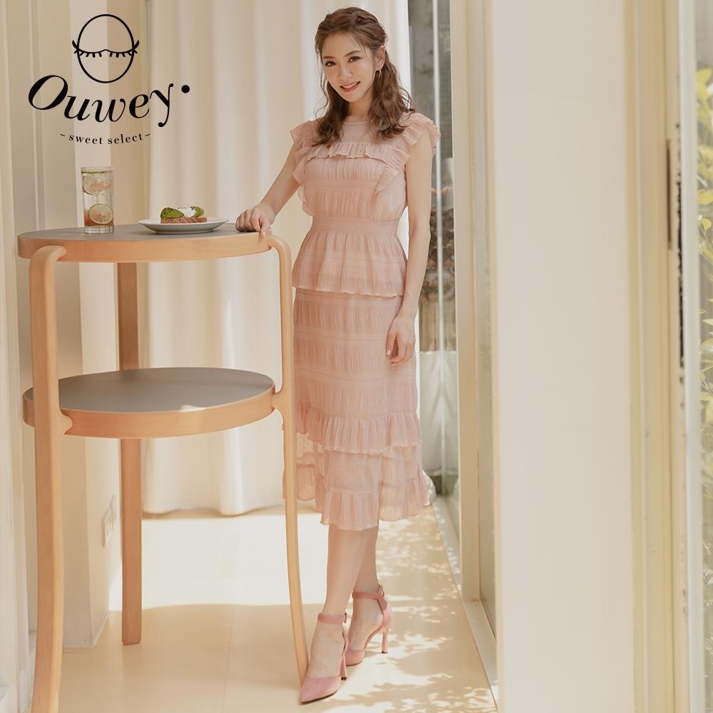 OUWEY歐薇 壓皺布料荷葉層次裙(粉)3212072202
