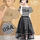 洋裝-LIYO理優-條紋亮片鬆緊半透網紗裙兩件式洋裝 product thumbnail 1