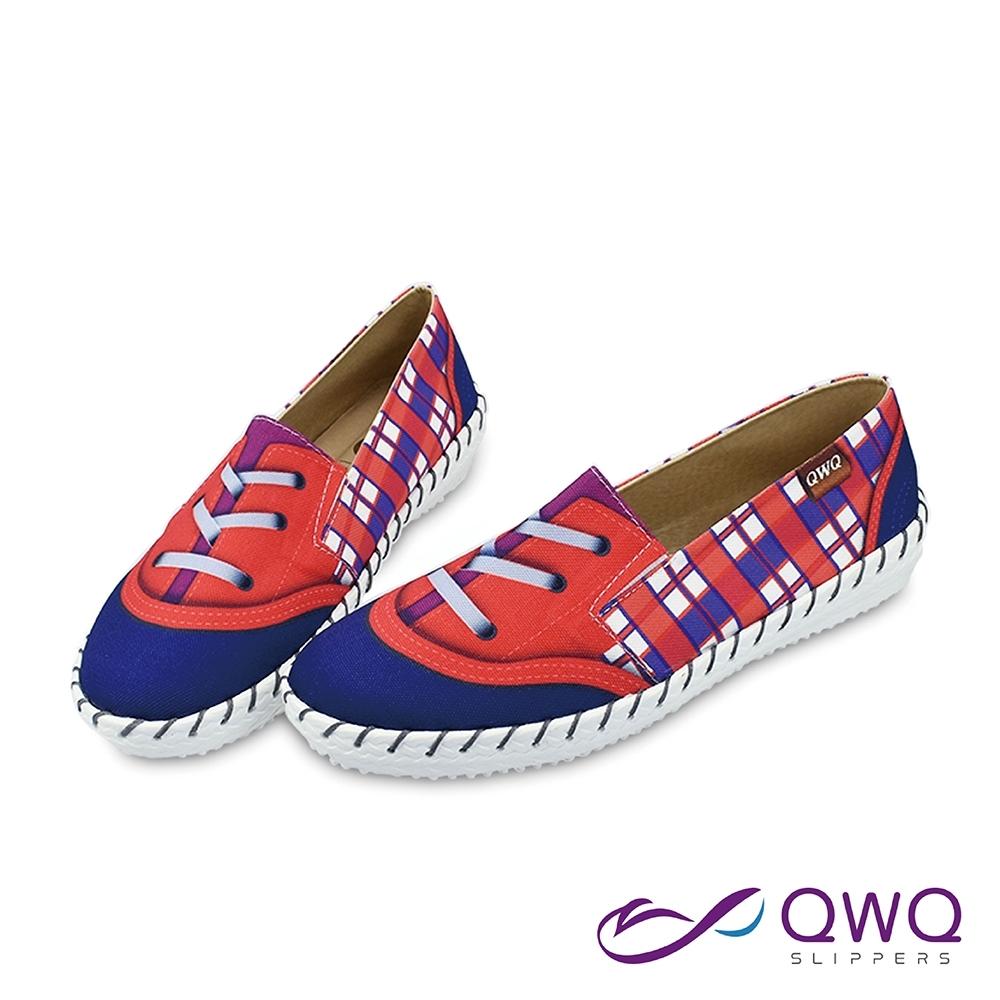 女款防潑水彩繪懶人鞋-柔軟止滑輕量休閒鞋-英倫格紋-藍紫