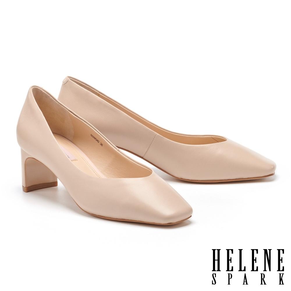 高跟鞋 HELENE SPARK 簡約質感羊皮方頭扁平造型高跟鞋-粉
