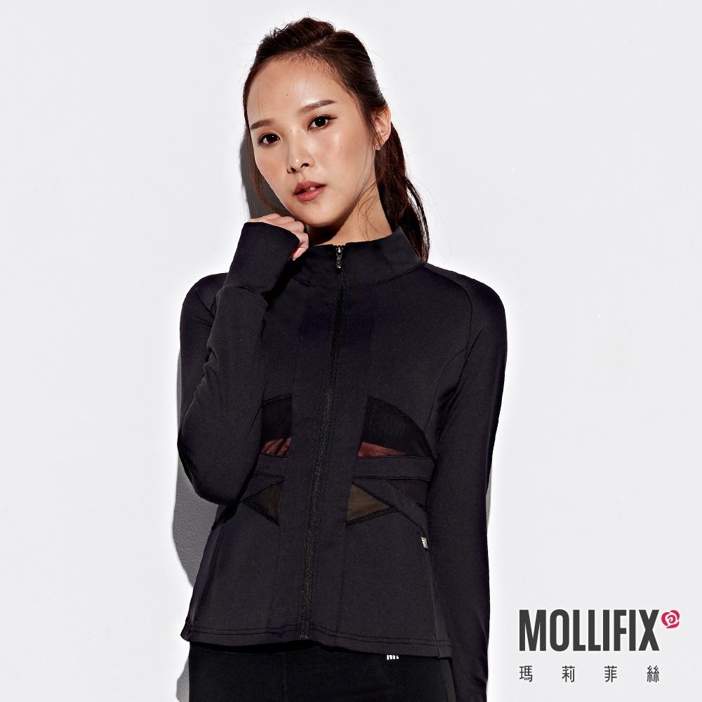 Mollifix 瑪莉菲絲 交織透網彈性修身運動外套 (黑)