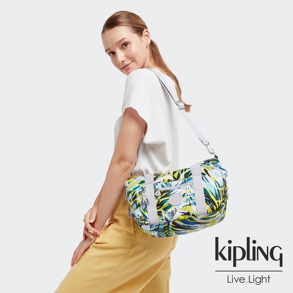 Kipling 手繪棕櫚樹印花手提側背包-ART MINI