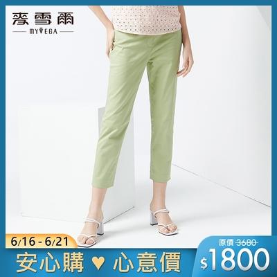 麥雪爾 高含棉壓鑽修身八分褲-綠
