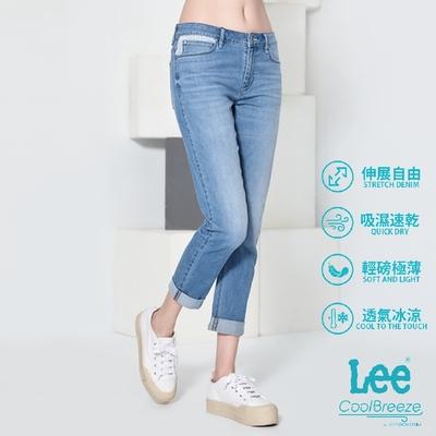Lee 401中腰合身小直筒牛仔褲 女款 中藍 Cool Breeze