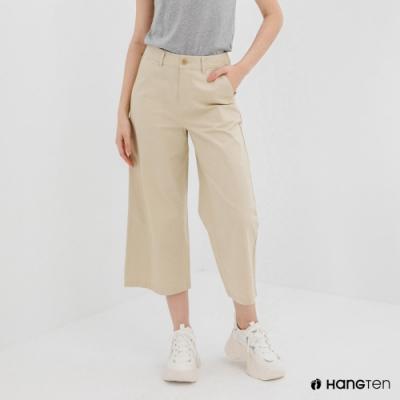 Hang Ten-女裝-WIDE LEG FIT鬆緊腰頭九分褲-卡其色