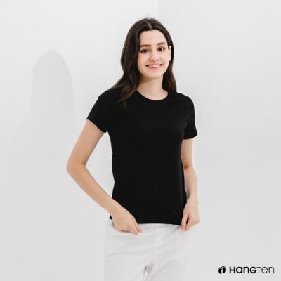 Hang Ten-女裝-有機棉V領腳丫短袖T恤-黑色