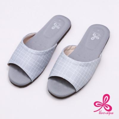 維諾妮卡 生活品味乳膠室內拖鞋-淺灰