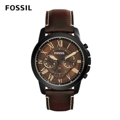 【FOSSIL】 GRANT 冒險家精神三眼計時腕錶-黑棕 約46mm FS5088