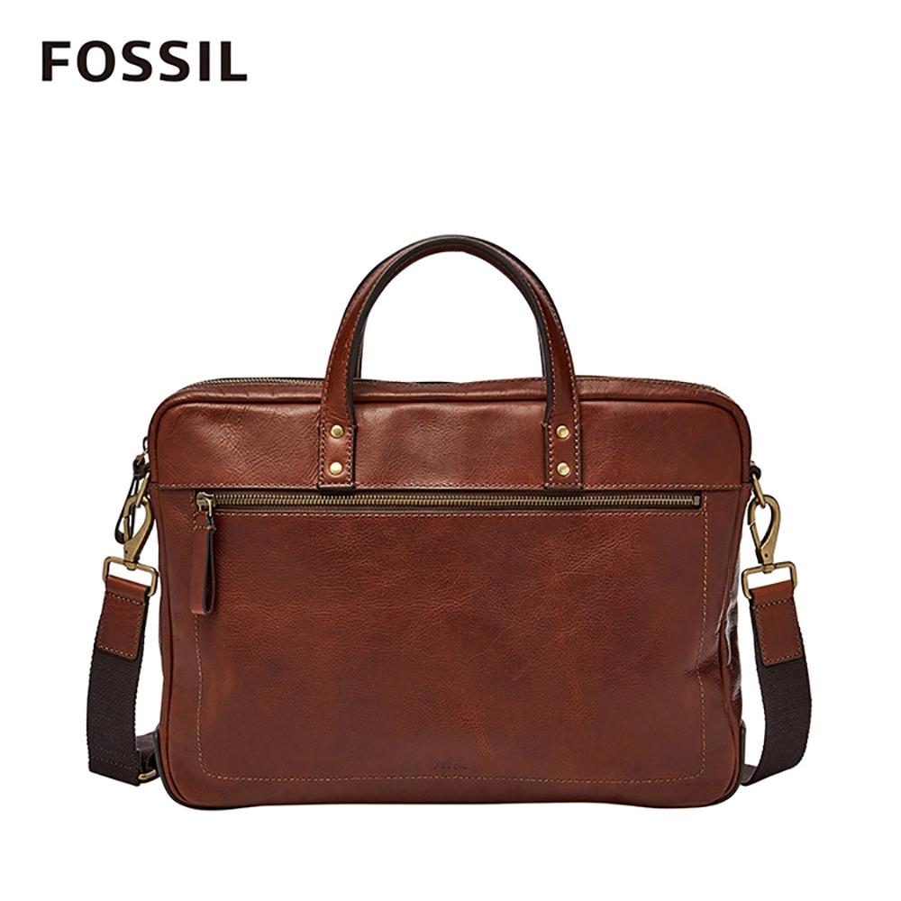 FOSSIL HASKELL 俐落商旅公事扁包-焦糖咖啡色 MBG9343222
