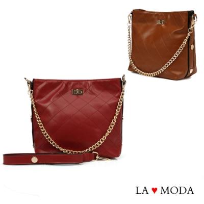 La Moda 本季最HOT小香風菱格紋肩背大容量斜背鏈帶大包(共3色)