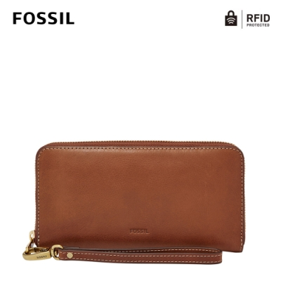 FOSSIL Emma 咖啡色真皮RFID大拉鍊長夾 SL7153200