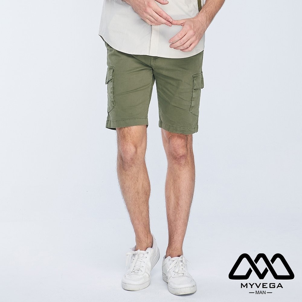 MYVEGA MAN工裝多口袋素色短褲-綠