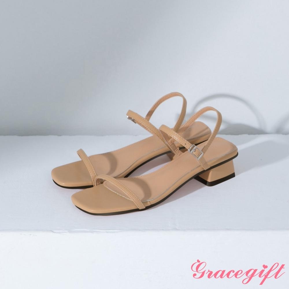 Grace gift-方頭一字繫踝中跟涼鞋 杏